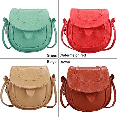 Bolsa de hombro - All4you moda mujeres niñas pequeñas a mano Musette bolso en tambor Pattern(Green) Verde