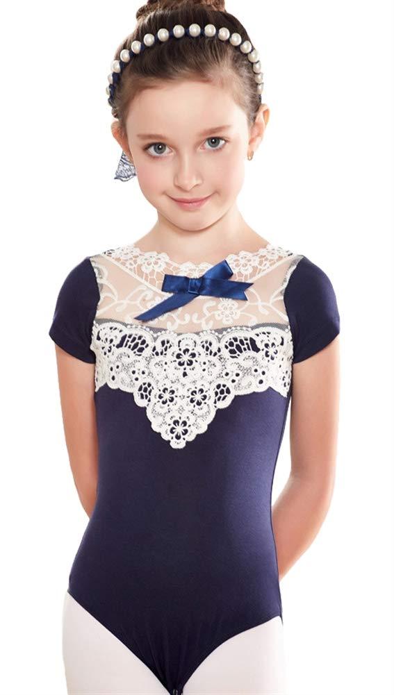 ONCEFIRST Girls Short Sleeve Lace Front Ballet Leotard