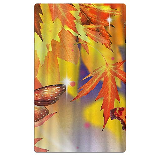 Phyllis Walker Autumn Butterfly Maple Leaves Beach Towel Soft Quick Dry Lightweight High Absorbent Pool Spa Towel Men Women 31 X 51 Inch
