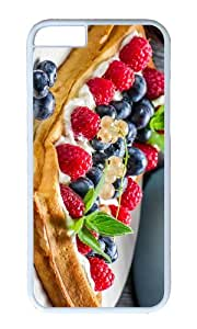 Waffles fruits food cream dessert red raspberries blueberries PC White Hard Case for Apple iPhone 6(4.7 inch)