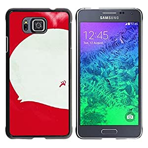 MOBMART Carcasa Funda Case Cover Armor Shell PARA Samsung ALPHA G850 - White And Red Caterpillar Call Out