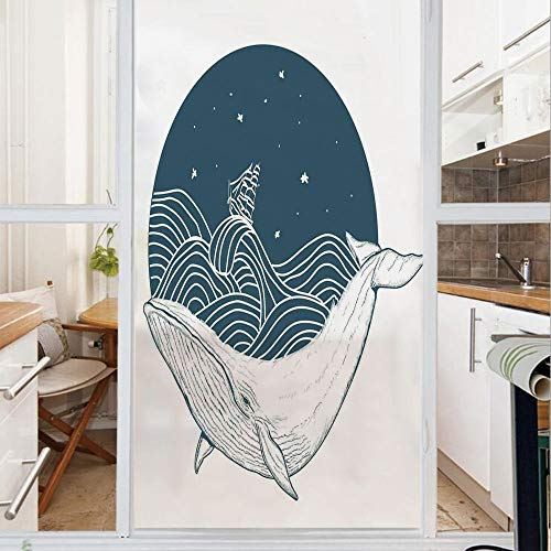 Decorative Window Film,No Glue Frosted Privacy Film,Stained Glass Door Film,Big Whale Swimming in a Wavy Ocean with Stars and Old Antique Ship Artwork Print,for Home & Office,23.6In. by 47.2In Teal Wh