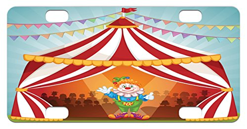 Circus Mini License Plate by Lunarable, Cartoon Clown in Circus Tent Cheerful Costume Funny Entertainer Joyful, High Gloss Aluminum Novelty Plate, 2.94 L x 5.88 W Inches, Multicolor