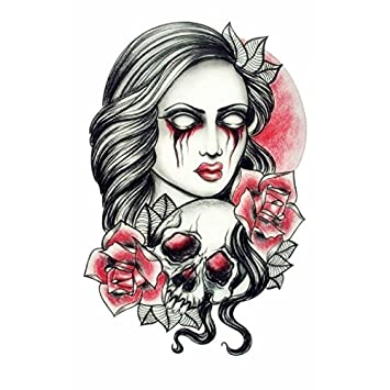 d6969e474fcf3 Demon lady SKULLS & BONES fake tattoo sleeve Unisex temporary tattoos body  art metallic body stickers