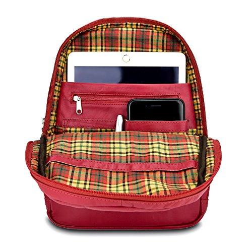 AQILA Damen Mini Rucksack Tasche Echt Leder rot