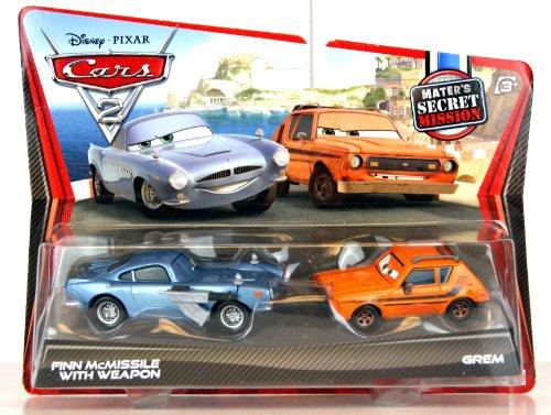 Disney / Pixar CARS 2 Movie Exclusive 155 Die Cast Car 2Pack Finn McMissile with Weapon Grem Maters Secret Mission (Cars 2 Grem)