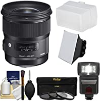 Sigma 24mm f/1.4 Art DG HSM Lens for Nikon DSLR Cameras with Flash + Soft Box & Diffuser + 3 UV/CPL/ND8 Filters + Kit