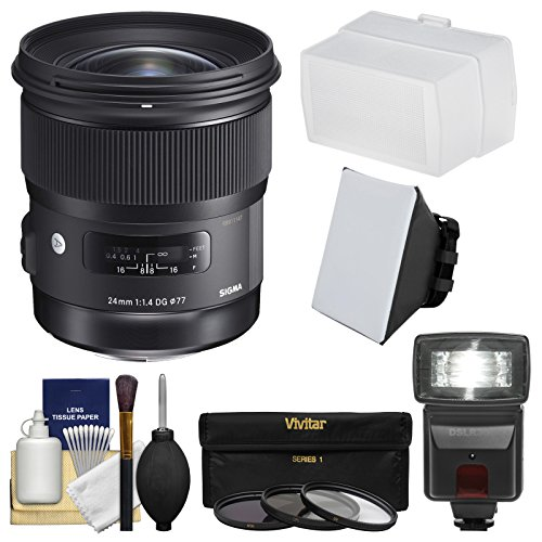 Sigma 24mm f/1.4 Art DG HSM Lens for Canon EOS DSLR Cameras with Flash + Soft Box & Diffuser + 3 UV/CPL/ND8 Filters + Kit