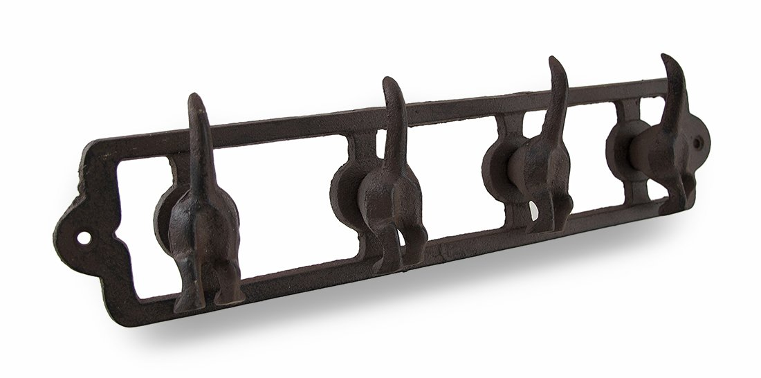 Rustic Finish Cast Iron Dog Tails Wall Hooks