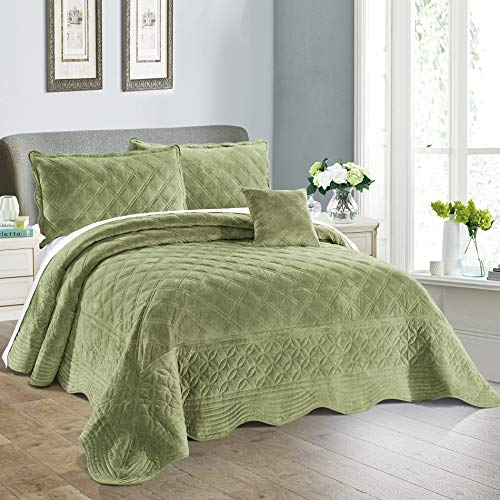 - Home Soft Things Serenta Super Soft Microplush Quilted 4 Piece Bedspread Set, King, Sage