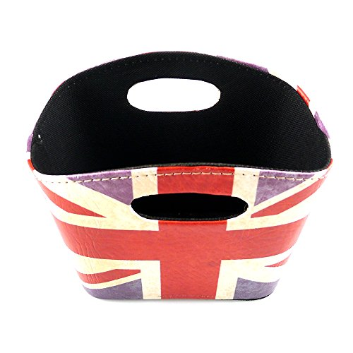 KirinStores Union Jack Design Storage Basket PU Leather Magazine Newspaper Basket British Style Desk Organizers (A)