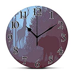 BCWAYGOD Silent Wall Clock,Cabin Decor,Grizzly Bear and Antler Mysterious Woods Smoky Jungle Fauna Landscape,Sky Blue Dried Rose Non Ticking Wall Clock/Desk Clock for Office Home Decor 9.5 inch