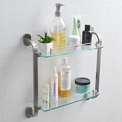 Top KES Bathroom 2-Tier Glass Shelf SUS 304 Stainless Steel Frame and Extra Thick Tempered Glass Shower Shelving Rectangular Contemporary Style Wall Mount Brushed Finish, A21820B-2 hot sale