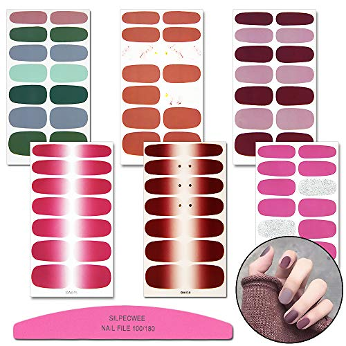 (SILPECWEE 6 Sheets Glitter Nail Art Polish Wraps Stickers Tips And 1Pc Nail File Solid Color Adhesive Manicure Decals Strips Set)