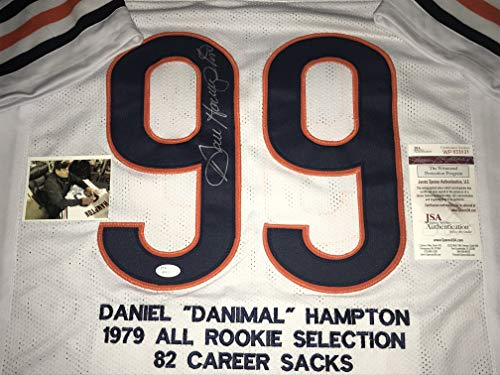 Dan Hampton Chicago Bears Autographed Signed Jersey with Embroidered Stats White JSA WITNESS COA