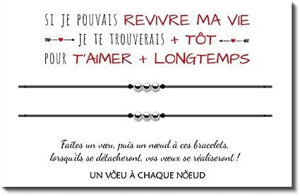 Carte De Voeux Message D Amour Duo De Bracelets Porte Bonheur 3 Billes Inox