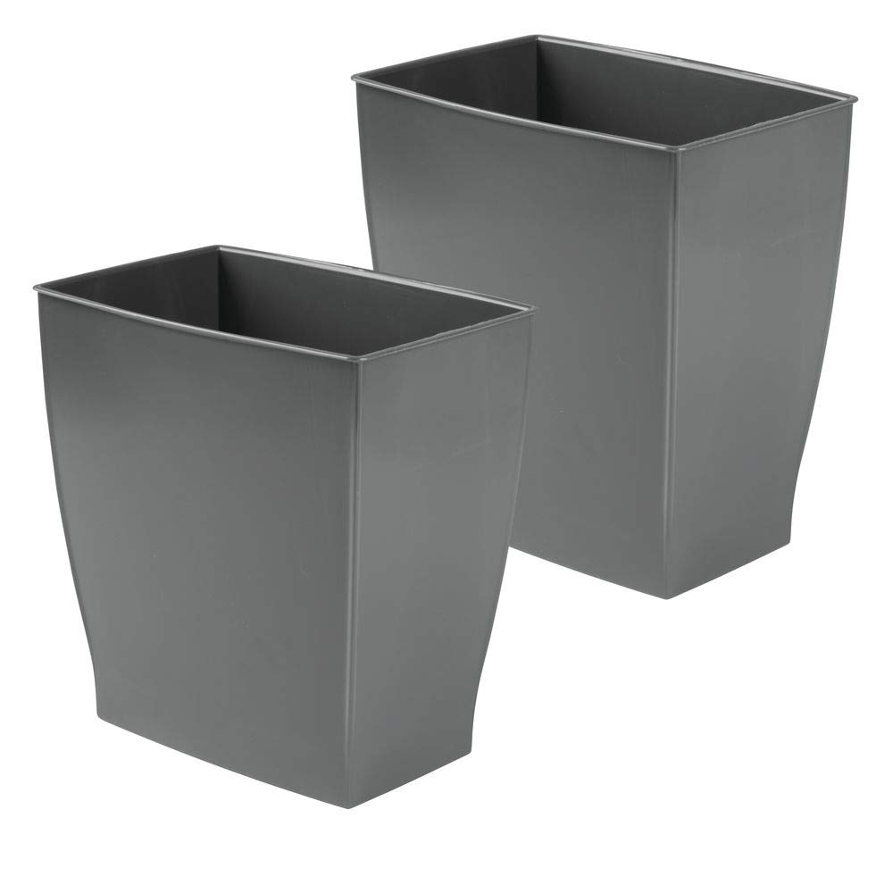 mDesign Rectangular Trash Can Wastebasket, Small Garbage Container Bin for Bathrooms, Powder Rooms, Kitchens, Home Offices - Shatter-Resistant Plastic, 2 Pack - Slate Gray by mDesign