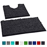 LuxUrux Bathroom Rugs Luxury Chenille 2-Piece Bath Mat Set, Soft Plush Anti-Slip Shower Rug +Toilet Mat.1'' Microfiber Shaggy Carpet, Super Absorbent Machine Washable Mats (Curved Set, Charcoal Gray)