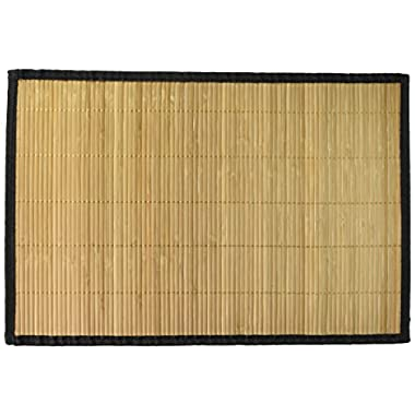 Bamboo Placemats Set of 6 - Everyday Use in Kitchen, Dining - Easy to Clean, High Quality Eco-Friendly With Black Border