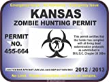 Kansas zombie hunting permit decal bumper sticker