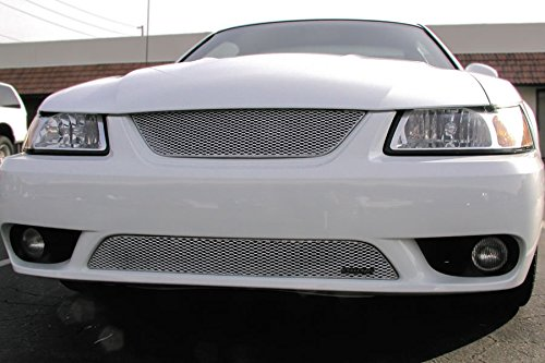 Grillcraft FOR5014S MX Series Silver Lower 1pc Mesh Grill Grille Insert for Ford Mustang Cobra