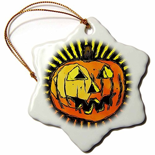Christmas Ornament Phil Perkins - Graphic Design - Scary Halloween Pumpkin - Snowflake Porcelain Ornament -