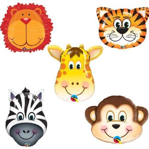 5pc JUNGLE ANIMALS BALLOONS birthday party decorations lion tiger monkey zebra