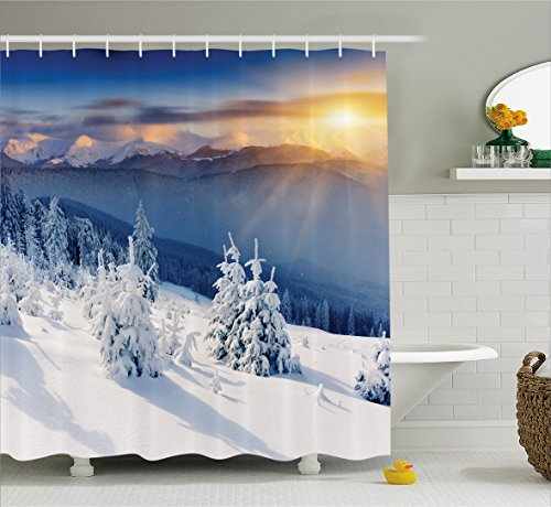(Ambesonne Winter Decorations Shower Curtain, Fantastic Disappearance of Sunrise in Mountain Tops Dramatic Sky Alpine, Fabric Bathroom Decor Set with Hooks, 70 Inches, White)