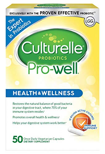 Culturelle Pro-Well Health & Wellness Daily Probiotic Dietary Supplement, Restores Natural Balance of Good Bacteria in Digestive Tract*, Vegetarian Capsules, 50 Count