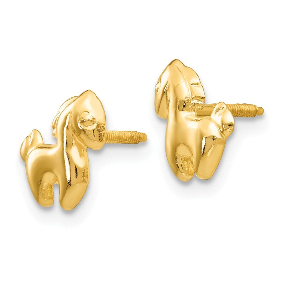 14K Yellow Gold Madi K Pony Screw Back Stud Earrings
