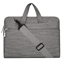Mosiso Laptop Shoulder Bag / Briefcase, Denim Fabric Carry Case for 15-15.6 Inch Notebook Computer / MacBook Air / MacBook Pro / Chromebook, Gray