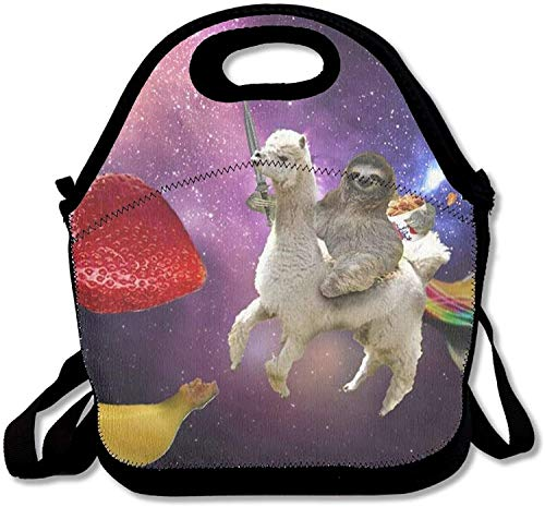 - Funny Sloth Riding Llama Cut Fruit Lunch Bags Insulated Travel Picnic Lunchbox Tote Handbag With Shoulder Strap For Women Teens Girls Adults