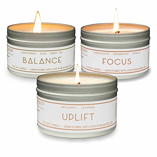 Scented Candles - Uplift (Lavender), Balance (Lemongrass), Focus (Sandalwood) - Natural Soy Wax Aromatherapy 8 oz Candles, 3-Pack, Made in USA