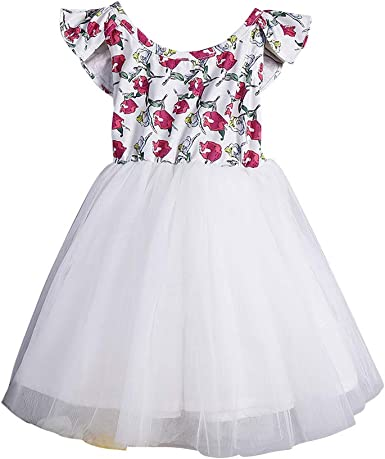 Toddle Kid Girls Dress Clothes Flying Sleeve Floral Lace Princess Party Dress
