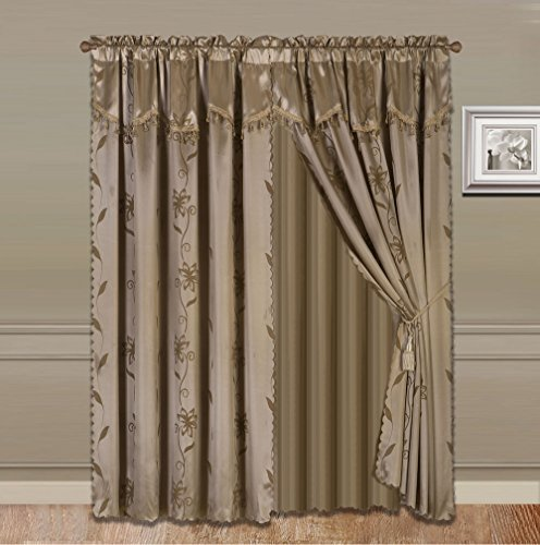 GorgeousHomeLinenVarious Colors 8-Piece Nada Luxury Faux Jacquard Floral Design Panel, Rod Pocket Window Curtain Set Attached Valance, Panel, And Sheer- Includes 2 Tie Backs (Taupe Tan)