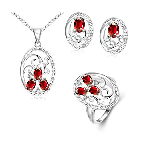 Gnzoe Jewelry, Silver Plated Women Ring Size 8 Earrings Necklace Anklet Crystal Inlaid CZ Jewelry Set