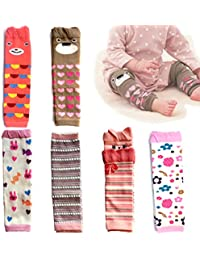 6-pack Baby & Toddler Cozy Soft Leg Warmers, Gift Set for Boys & Girls, Pink, Stripes, Heart-shaped Dots