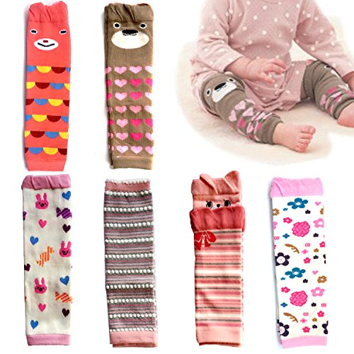 Elesa Miracle 6-pack Baby & Toddler Cozy Soft Leg Warmers, Gift Set for Boys & Girls, Pink, Stripes, Heart-shaped Dots (Girl Set)