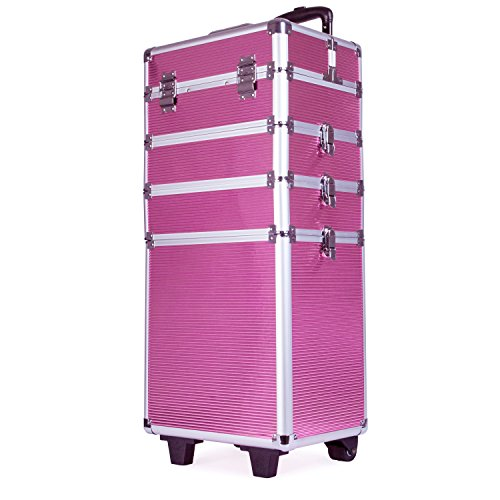 4 in 1 Professional Multifunction Artist Rolling Trolley Makeup Beauty Train Case Cosmetic Organizer W/shoulder Straps (Pink) by Topwigy