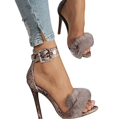 (azmodo Women Shoes Fur Sexy Ankle Strap Open Toe Stiletto Heeled Sandals for Wedding Party & Evening A88(US 7.5/EU 38/CN 38, Serpentine))