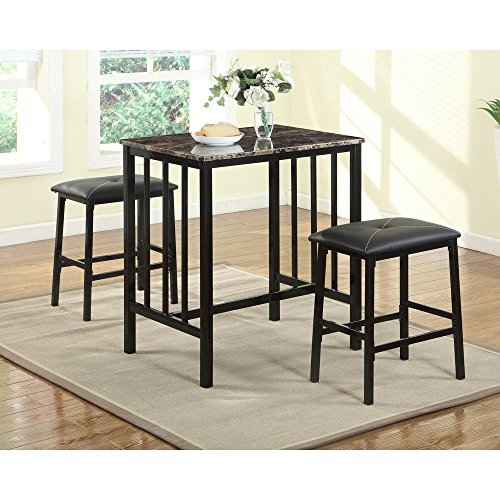 KIZE 3 PCS Counter Height Dining Set Faux Marble Table 2 Chairs Bar Kitchen Furniture Dining Table Set