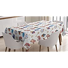 Ambesonne Alice in Wonderland Decorations Tablecloth, Cupcakes Mushrooms Bottles Hanging in Sky Alice Magic Dessert Fairy Tale , Rectangular Table Cover for Dining Room Kitchen, 60x90 Inches, Multi