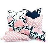 Hofdeco Decorative Outdoor Throw Lumbar Pillow Cover Water Resistant Patio Garden Picnic Decor Spring Garden Navy Pink Greek Key Quatrefoil Maze Chinoiserie Floral 18''x18'' 20''x20'' 12''x20'' Set of 6