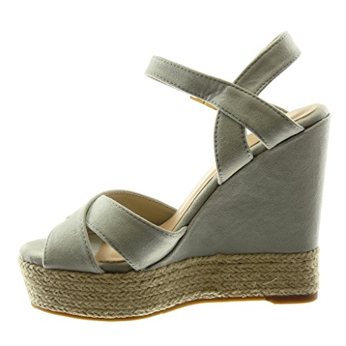 Angkorly Women's Fashion Shoes Espadrilles Sandals - Peep-Toe - Ankle Strap - Platform - Crossed Thongs - Cord Wedge Platform 13 cm Grey iGTBY3