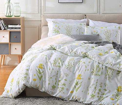 - Fire Kirin Botanical Duvet Cover Set 3pc(1 Duvet Cover + 2 Pillowcases) Yellow Flowers and Green Leaves Floral Garden Pattern Printed Bedding Cover Sets (Queen)
