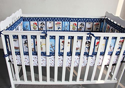 NAUGHTYBOSS Baby Bedding Set Cotton 3D Embroidery Pirates Of the Caribbean Quilt Bumper Bedskirt Fitted 7 Pieces Blue by NAUGHTYBOSS (Image #6)