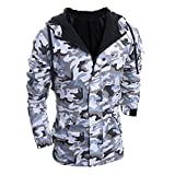 GOVOW Coats for Men Big and Tall Autumn Winter Camouflage Wind Loose Soft Hooded Blouse (M,Gray )