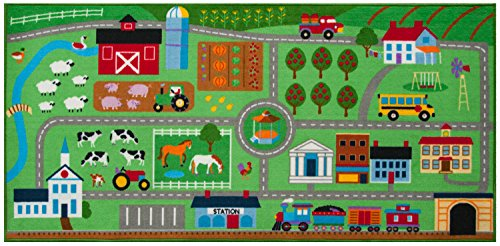Wildkin Kids Farm Land Educational Play Rug for Boys and Girls, Measures 80x39 Inches, Durable Nylon Material, Features Skid-Proof Backing and Serged Borders, Perfect for Playrooms and Classrooms