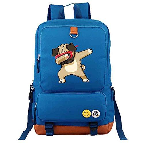 men backpack School Funny Bag Dabbing Student girl Pug Rucksacks Shoulder travel Bags Dab Blue BFFTnHI4