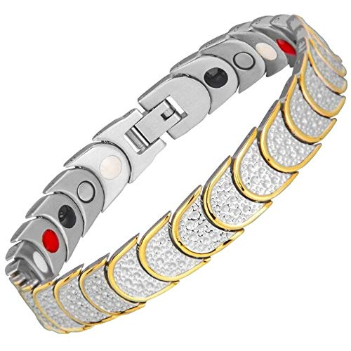 Horseshoes Gold Chain (Magnetic Health Bracelets   for Men Women   316 Stainless Steel Healing Elements Gold Colour Horseshoe Chain Link Bracelets)